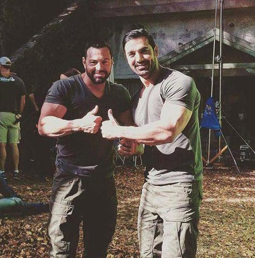 Actors with body double for stunt scene