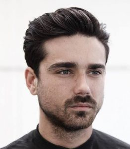 Classic combed back style, men's hairstyle
