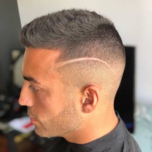 buzz cut with design, hairstyles for men